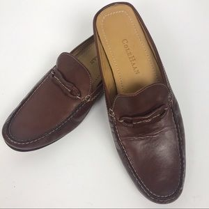 Cole Haan Women's Brown Leather Slip On Mules 8.5
